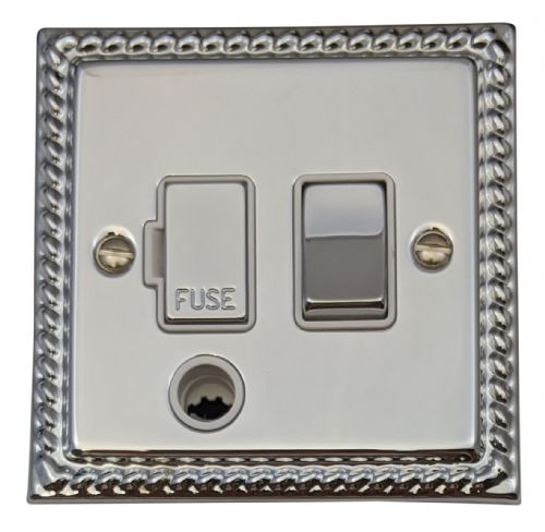 G&H MC256 Monarch Roped Polished Chrome 1 Gang Fused Spur 13A Switched & Flex Outlet